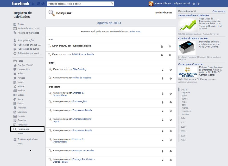 registro de atividade facebook